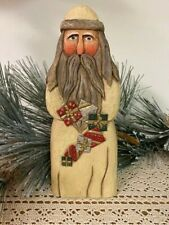 Gift Garland Santa by Whispering Pines Carving (Antique White)