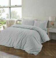 Duvet Cover Set Cotton Linen Blend Single Double Super King Sizes Bedding Grey