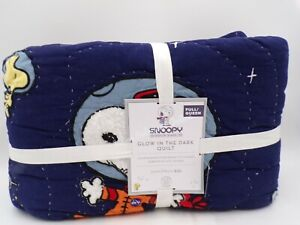 Pottery Barn Glow in the Dark Peanuts Snoopy Space Quilt Navy Full Queen #9697B