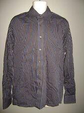 MICHAEL KORS MEN DRESS SHIRT TOP size 16 - 36/37  BROWN BLUE STRIPES LONG SLEEVE