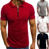 Mens Summer Slim Zipper Fit Shirts Short Sleeve Casual Muscle T-Shirt Tops Tee
