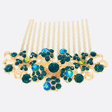 Flower Hair Comb Hairpin use Swarovski Crystal Bridal Wedding Gold Green 5-13
