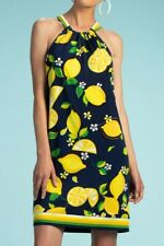 Trina Turk Rancho Dress Size MEDIUM lemon print NEW