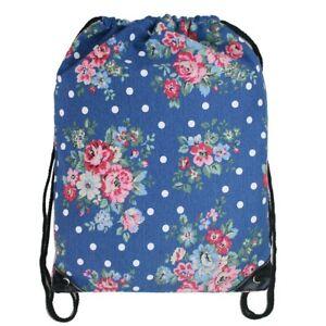 Miss Lulu Drawstring Backpack Bag Floral Print Blue / Navy