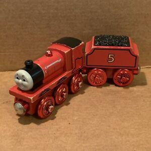 Red Metallic James & Tender - Hard To Find Thomas & Friends Wooden Railway Used