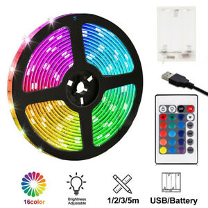 Battery Operated 1-3M USB LED Strip Lights Color Change Light Home Office Decor