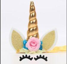 "Unicorn Cake Topper Set 5-1/2"" Tall X 4"" Wide Gold USA Seller"