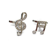 Crystal encrusted Treble Clef & Music Note Cufflinks & Gift Pouch