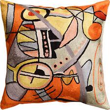 "Kandinsky Symphony III Orange Pillow Cover Handembroidered Art Silk 18""x18"""