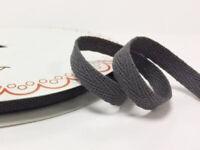 2 metres Charcoal Grey 10mm Cotton Herringbone Tape Webbing Ribbon Craft Sewing