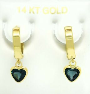 GENUINE 1.86 Cts BLUE ZIRCON HUGGIE DANGLING EARRINGS 14K GOLD *NEW WITH TAG
