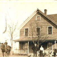 1911 Family Children Dog Kid Horse Farm House Photo Postcard RPPC Sheldon IA A2