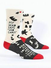BlueQ Men's Crew Socks - Who Cares