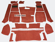 MGB ROADSTER & MGB GT  CARPET SET DAMASK RED  CARRELLI WITH HESSIAN BACKING