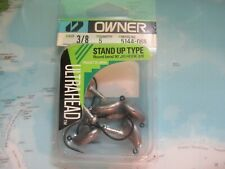 Owner 3/8 Oz Stand Up Type Ultra Head Round Bend 90 Degree 3/0 Jig Hook 5 Pack!!