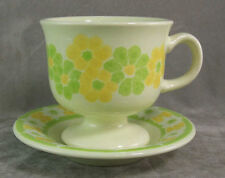 Franciscan Picnic Cup & Saucer Yellow Green Floral EXC