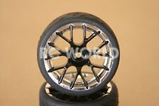 RC 1/10 Car Tires Wheel Set BLACK SPOKE W/ CHROME LIP RimsSemi Slick Tires