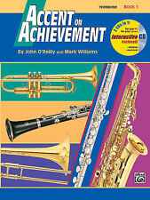 Accent On Achievement Trombone Music Book 1 W/Cd'S Alfred Band Brand New On Sale
