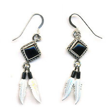 Genuine Onyx Beaded Sterling Silver Feather Dangle Earrings Native American