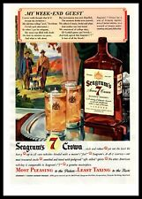 1942 Seagram's 7 Seven Crown Whiskey Spotted English Setter Dog Color Print Ad