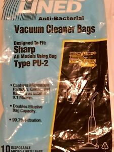 Vacuum Cleaner Bags Sharp Type PU-2 Micro Lined Anti-Bacterial Pack of 10 NEW