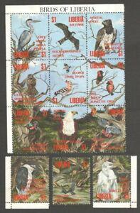 AOP Liberia #1161 Birds postally used broken sheet of 12