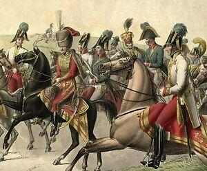 PHILIPP VON STUBENRAUCH & AUSTRIAN GENERALS  ORIGINAL 1820s COLORED LITHOGRAPH