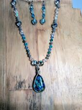 Handmade Artisan Jewelry Sets Dichroic Glass with Austrian Crystals