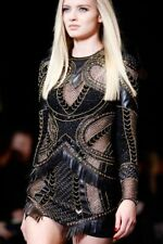 $20,875 New Versace Embellished Black Leather Dress 38