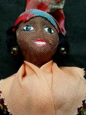 "Old African -American hand made rag doll 7.5"" tall"