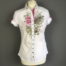 Just White White Pink floral Cotton Stretch Short Sleeve Fitted Shirt Size 8