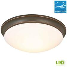 "Hampton Bay 13"" Oil-Rubbed Bronze LED Flushmount With Frosted Glass Shade"