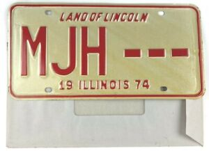 Vintage Illinois 1974 Sample Old License Plate Collector Man Cave Pub Gift