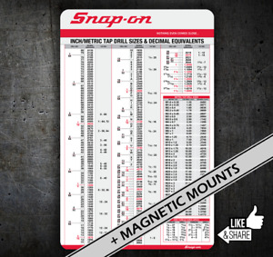 SNAP-ON Tap Chart #050 card, Drills with Decimal Equiv, tool box chest cart