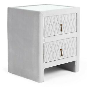 Beautify Bedside Table Cabinet - Velvet Grey Quilted Nightstand 2 Drawers