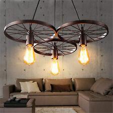 Loft Industrial Metal Wheel Pendant Lamps 1/3 Holders Ceiling Light Chandeliers