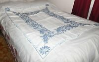 "Vtg White Tablecloth Hand Cross-Stitched Blue Floral Pattern 58"" x 44"""