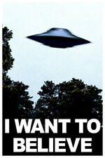 I Want To Believe UFO Aliens TV Show Blue Poster 12x18 inch