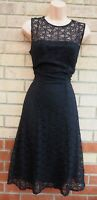 BLACK CROCHET SHEER SLEEVELESS A LINE FLIPPY SKATER GLITTER LACE PARTY DRESS 16