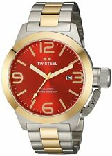 """TW STEEL CB72 """"Canteen"""" 50 MM Two-Tone Red-Dial Stainless-Steel Watch"""