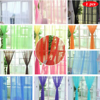 1PCS New Pure Color Tulle Door Window Curtain Drape Panel Sheer Scarf Valances D