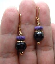 Dainty Black Onyx W. Purple Chaorite Gold Earrings BIN0809