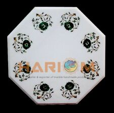 """14"""" White Marble Side Coffee Table Top Malachite Floral Inlay Dining Decors W405"""