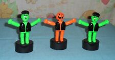 vintage HALLOWEEN MONSTER PUSH PUPPET LOT x3 Frankenstein & Scarecrow