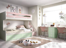 Design Etagenbett mit XXL Stauraum Treppe Schreibtisch 2 Betten Hochbett Jump