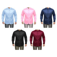 Fashion Mens Slim Fit Satin Shirt Long Sleeve Dress Shirts Casual Shirt Tank Top