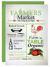 MUkitchen Flour Sack Towel 2 Set Retro Farmer's Market Cotton 24x36 Kitchen Bar
