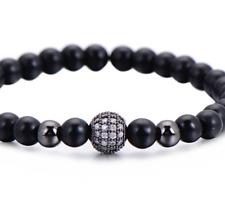 Mens Adjustable Strand Bracelet Black Beads Iced Globe CZ Cubic zirconia Hip Hop