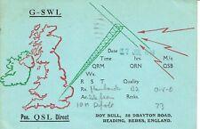 Very old QSL from Roy Bull, Drayton Road, Reading, Berks (G-SWL) 17/7/1948