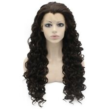 "26"" Long Curly Dark Brown Heat Resistant Fiber Hair Synthetic Lace Front Wig"